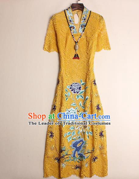 5685420b0c Asian Chinese Oriental Costumes Classical Embroidery Yellow Lace Cheongsam