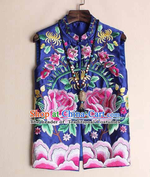 Asian Chinese Oriental Costumes Classical Palace Embroidery Peony Navy Vest, Traditional China National Chirpaur Tang Suit Plated Buttons Waistcoat for Women
