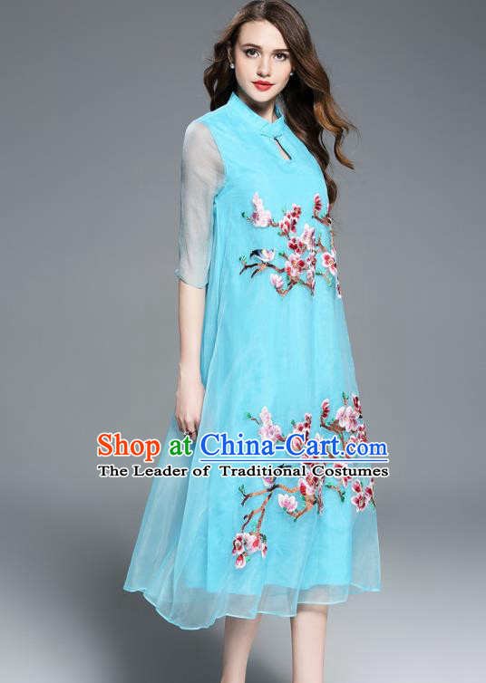 32dd587632 Asian Chinese Oriental Costumes Classical Embroidery Blue Silk Cheongsam