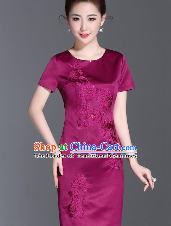 06f93db02f Asian Chinese Oriental Costumes Classical Embroidery Purple Silk Dresses