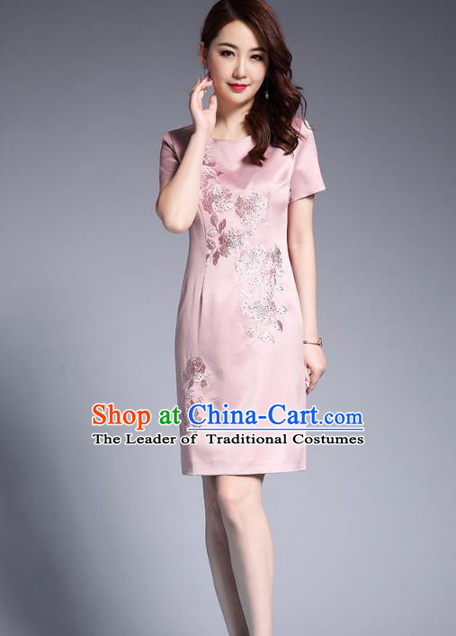 a12a4a9c6 Asian Chinese Oriental Costumes Classical Embroidery Pink Silk Dresses, Traditional  China National Chirpaur Tang Suit Qipao for Women