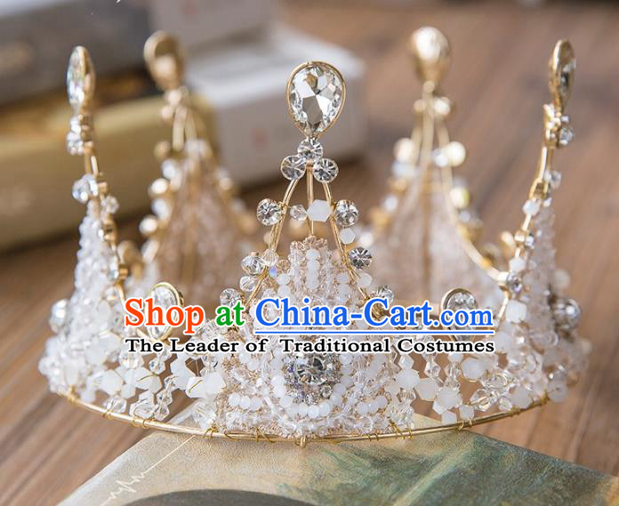 Top Grade Handmade Classical Hair Accessories Baroque Style Princess Crystal Beads Royal Crown Round Hair Clasp Headwear for Women