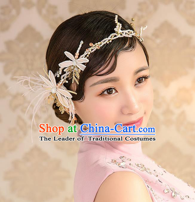 Top Grade Handmade Classical Hair Accessories Baroque Style Princess Silk Dragonfly Hair Clasp Headwear for Women