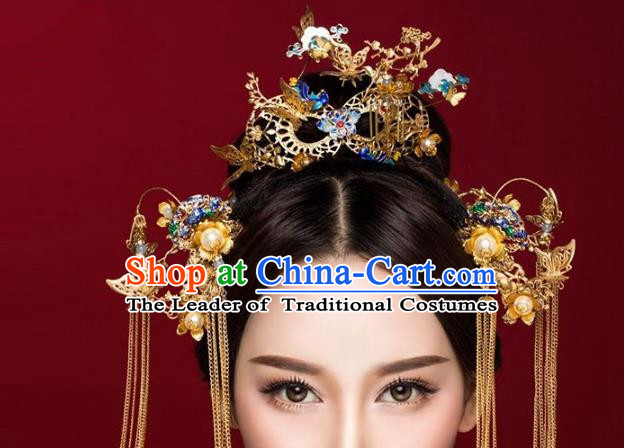 Aisan Chinese Handmade Classical Hair Accessories Blueing Phoenix Coronet Complete Set, China Xiuhe Suit Tassel Hairpins Wedding Headwear for Women