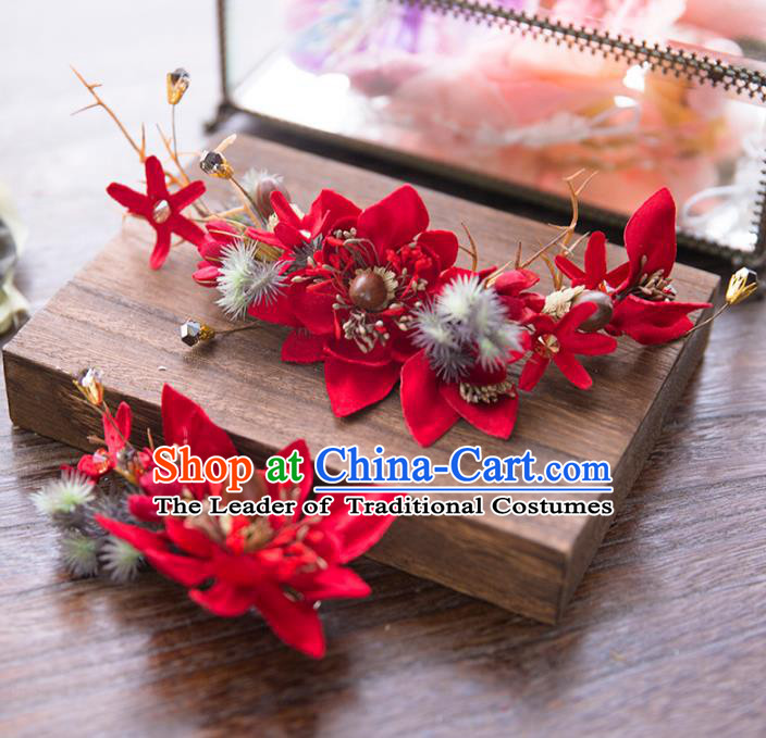 Aisan Chinese Handmade Classical Hair Accessories, China Xiuhe Suit Red Flowers Hair Stick Hairpins Wedding Headwear for Women