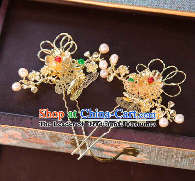 Aisan Chinese Handmade Classical Hair Accessories Butterfly Hair Stick, China Xiuhe Suit Hairpins Wedding Headwear for Women
