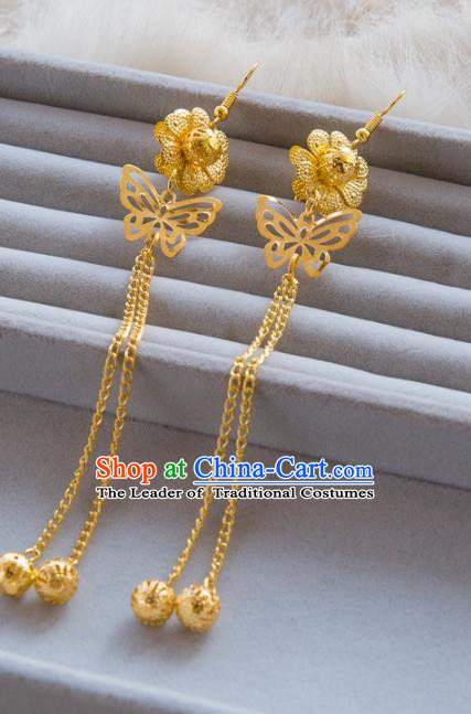 Top Grade Handmade Classical Jewelry Accessories Hanfu Wedding Earrings Bride Golden Butterfly Eardrop Women