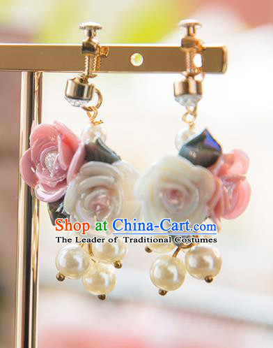 Top Grade Handmade Classical Hair Accessories Baroque Style Princess Ceramics Flowers Earrings Headwear for Women