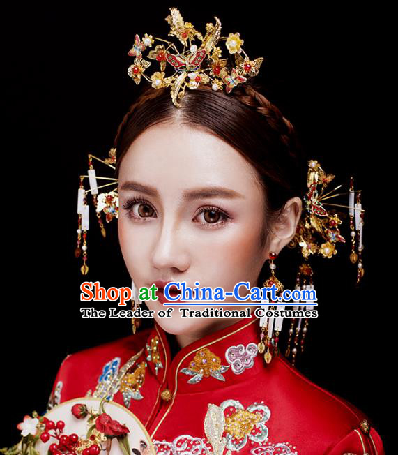 Aisan Chinese Handmade Classical Hair Accessories Red Butterfly Phoenix Coronet Complete Set, China Xiuhe Suit Hairpins Wedding Headwear for Women