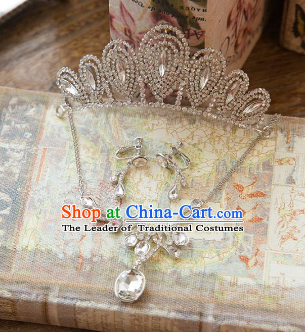Top Grade Handmade Classical Hair Accessories Baroque Style Princess Crystal Hair Stick and Necklace Earrings Headwear for Women