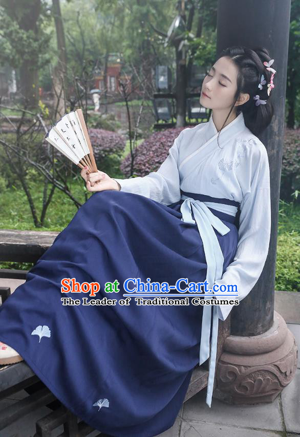 Asian Chinese Oriental Hanfu Costumes Embroidered Blouse and Navy Skirt, Traditional China Han Dynasty Embroidery Clothing for Women