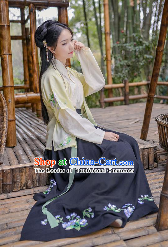 Traditional Asian Chinese Hanfu Costumes Song Dynasty Young Lady Embroidered Half-Sleeves Blouse and Black Slip Skirts Complete Set