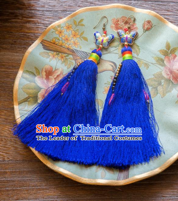 Chinese Handmade Classical Embroidery Butterfly Earrings, China Xiuhe Suit Wedding Blue Tassel Eardrop for Women