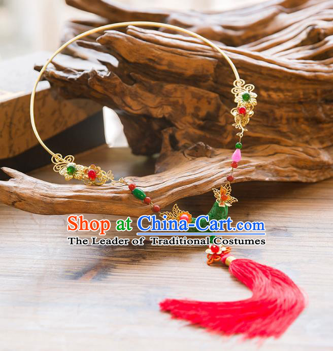 Chinese Handmade Classical Jewelry Accessories Tassel Jade Necklace, China Xiuhe Suit Tassel Necklet for Women