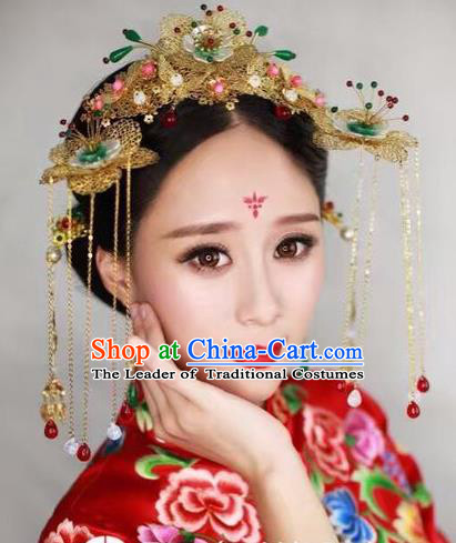 Chinese Handmade Classical Hair Accessories Jade Phoenix Coronet Complete Set, China Xiuhe Suit Hairpins Wedding Headwear for Women