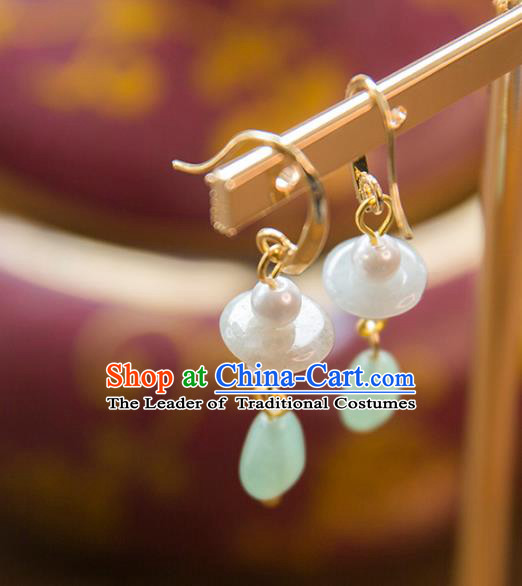 Aisan Chinese Handmade Classical Accessories Hanfu Green Jade Earrings Wedding Headwear for Women