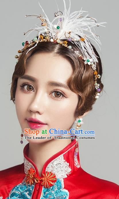 Top Grade Handmade Classical Hair Accessories Feather Hair Clasp, Baroque Style Princess Headband Headwear for Women