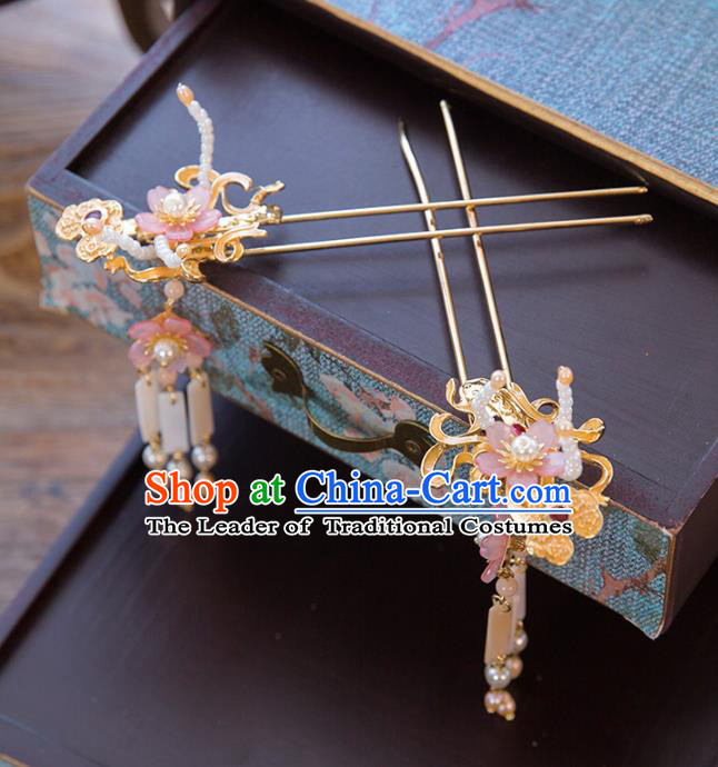Aisan Chinese Handmade Classical Hair Accessories Hanfu Pink Flowers Hair Clip, China Xiuhe Suit Hairpins Wedding Headwear for Women
