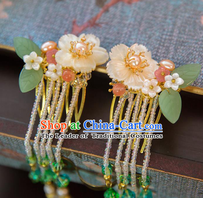 Aisan Chinese Handmade Classical Hair Accessories Hanfu Shell Flowers Hair Clip, China Xiuhe Suit Hairpins Wedding Headwear for Women