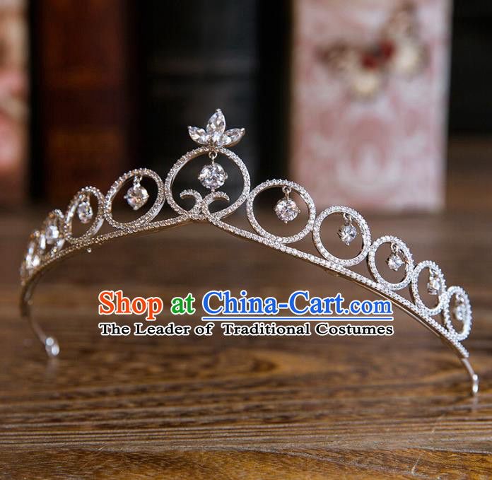 Top Grade Handmade Classical Hair Accessories Baroque Style Princess Hair Clasp Crystal Royal Crown Headwear for Women