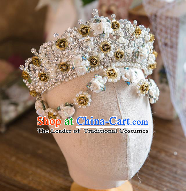 Top Grade Handmade Classical Hair Accessories Baroque Style Princess Pearls Royal Crown Headwear
