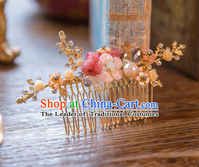 Top Grade Handmade Classical Hair Accessories Chinese Flowers Hair Comb, Baroque Style Princess Headwear for Women