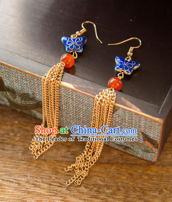 Chinese Handmade Classical Ancient Costume Hanfu Earrings, China Bride Xiuhe Suit Cloisonne Butterfly Eardrop for Women
