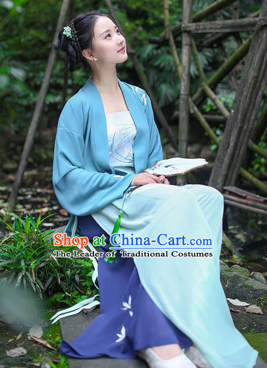 Traditional Asian Chinese Hanfu Costumes Song Dynasty Young Lady Embroidered Blue Blouse and Pants Complete Set