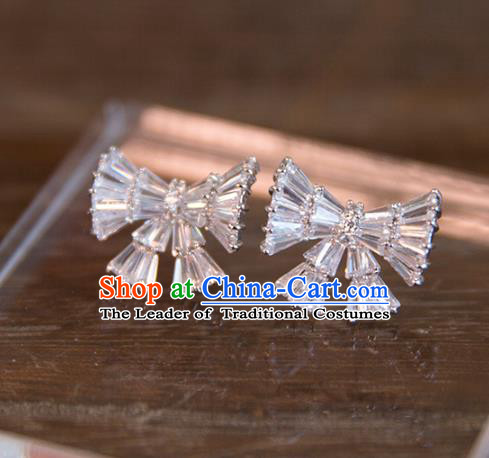 Top Grade Handmade Classical Hair Accessories Bowknot Earrings, Baroque Style Princess Crystal Eardrop Headwear for Women