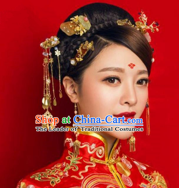 Chinese Handmade Classical Hair Accessories Bride Step Shake Complete Set, China Xiuhe Suit Hairpins Wedding Headwear for Women