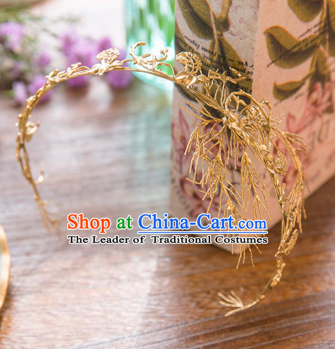 Top Grade Handmade Classical Hair Accessories Baroque Style Princess Golden Hair Clasp Headwear for Women