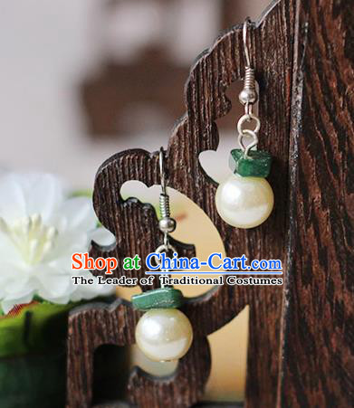 Chinese Handmade Classical Accessories Hanfu Earrings, China Xiuhe Suit Wedding Pearls Tassel Eardrop for Women