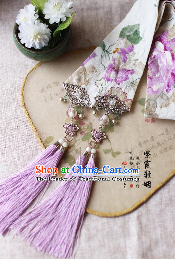 Chinese Handmade Classical Accessories Hanfu Silk Belt, China Ancient Hanfu Purple Tassel Bells Waistband for Women