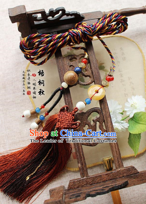 Chinese Handmade Classical Accessories Red Tassel Palace Taeniasis, China Hanfu Waist Jade Pendant Headwear for Women
