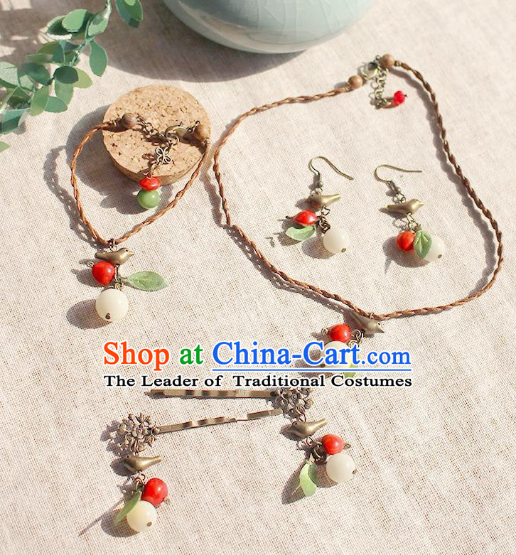 Chinese Handmade Classical Accessories Hanfu Bracelets and Earrings for Women