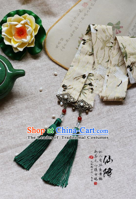Chinese Handmade Classical Accessories Green Tassel Palace Taeniasis, China Hanfu Waist Pendant Headwear for Women for Men