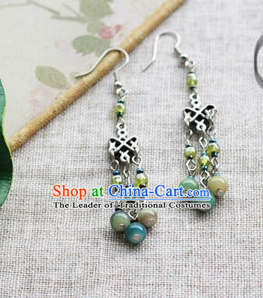 Chinese Handmade Classical Accessories Hanfu Green Beads Earrings, China Xiuhe Suit Eardrop for Women