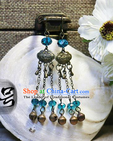 Chinese Handmade Classical Accessories Hanfu Longevity Lock Earrings, China Xiuhe Suit Tassel Eardrop for Women