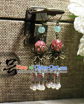 Chinese Handmade Classical Accessories Hanfu Pink Beads Earrings, China Xiuhe Suit Tassel Eardrop for Women