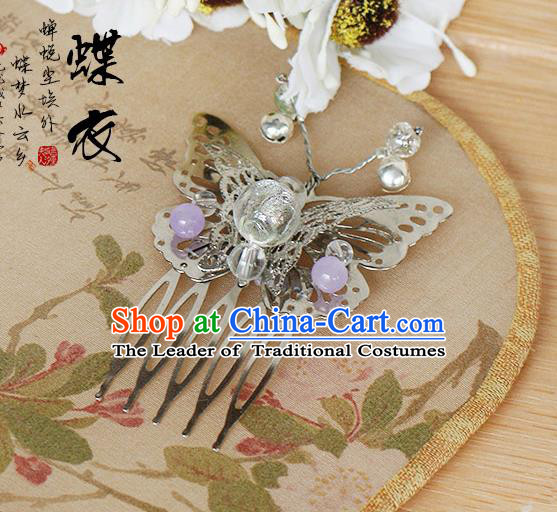 Chinese Handmade Classical Accessories Butterfly Hair Comb, China Xiuhe Suit Hair Stick for Women