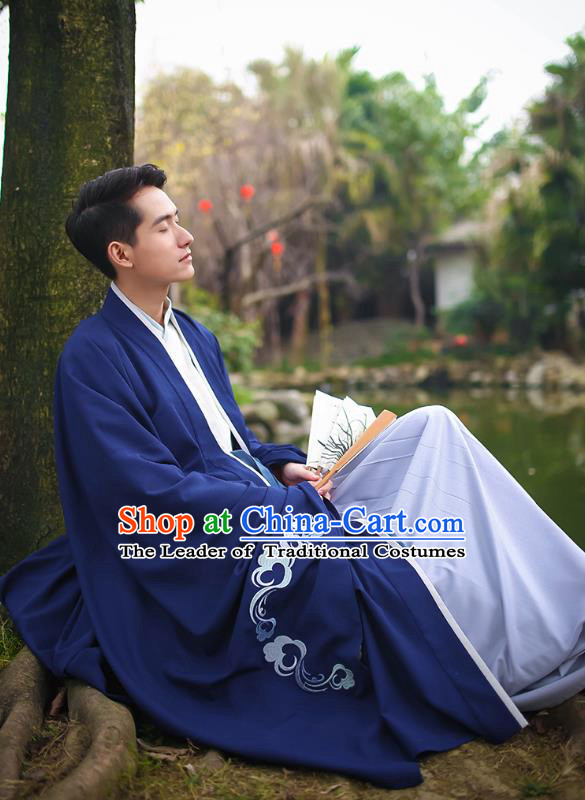 Traditional Asian Chinese Hanfu Scholar Costumes Navy Embroidered Cloak, China Ji Dynasty Officer Wide Sleeve Embroidered Elegant Robe for Men