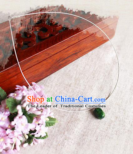 Chinese Handmade Classical Accessories Hanfu Necklace, China Xiuhe Suit Sliver Necklet for Women