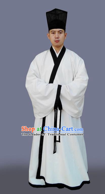 Traditional Chinese Hanfu Scholar Costumes White Embroidered Robe, China Han Dynasty Officer Elegant Clothing for Men