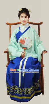 Traditional Chinese Ming Dynasty Young Lady Costumes Ancient Princess Embroidered Green Blouse and Blue Skirt Complete Set for Women