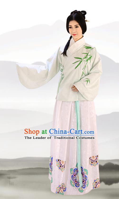 Traditional Chinese Ming Dynasty Imperial Consort Costumes Ancient Embroidered Bamboo Green Blouse and Pink Slip Skirts for Women