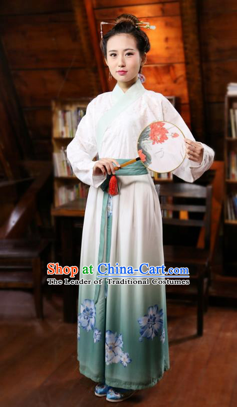 Traditional Chinese Han Dynasty Young Lady Costumes Ancient Blouse and Printing Slip Skirts Complete Set for Women