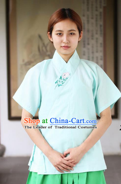 Traditional China Ancient Young Lady Costume Hanfu Blue Embroidered Blouse for Women
