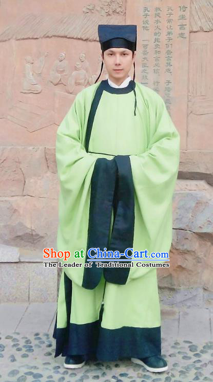 Traditional Oriental China Ming Dynasty Costume Ancient Officer Gwanbok Green Long Robe for Men