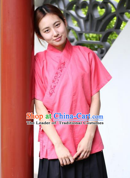 Traditional China Ancient Young Lady Costume Hanfu Rosy Embroidered Blouse for Women