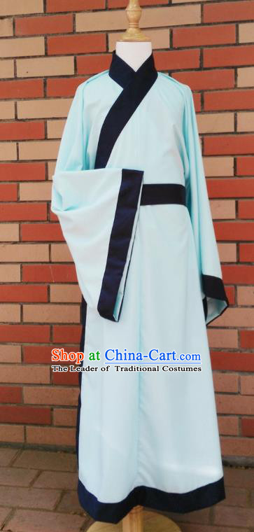 Traditional Asian China Han Dynasty Costume Chinese Hanfu Green Long Robe for Men